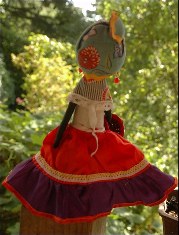 Caribbean  Folk Art Hand Crafted  Black  Cloth Doll  Souvenir