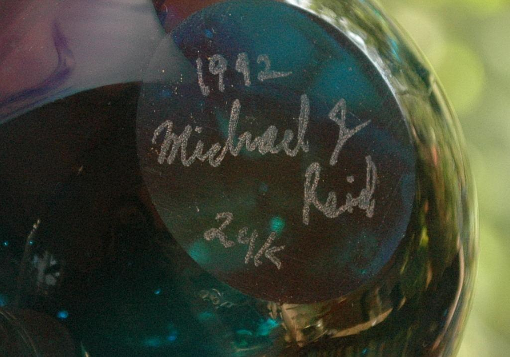 24K Gold Embeded Art Glass Paper Weight, Signed dated Michael J. Reid 1992
