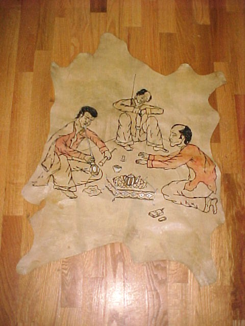Painted Leather Sheepksin of Asian Men Smoking