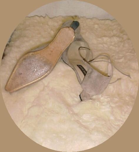 Ann Klein Beige Suede Pumps with Ankle straps 8