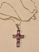 Amethyst & Sterling Crucifix Pendant & Chain