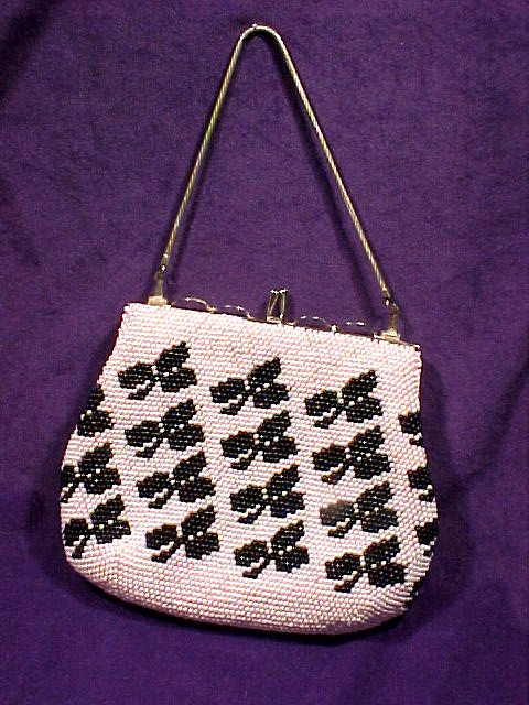 Beaded Purse Pink with Black Clubs or Clovers