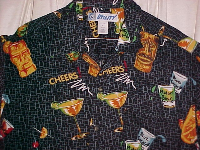 Tiki Bar Cocktail Shirt  100 % Rayon Size Med  *PRICE REDUCTION*
