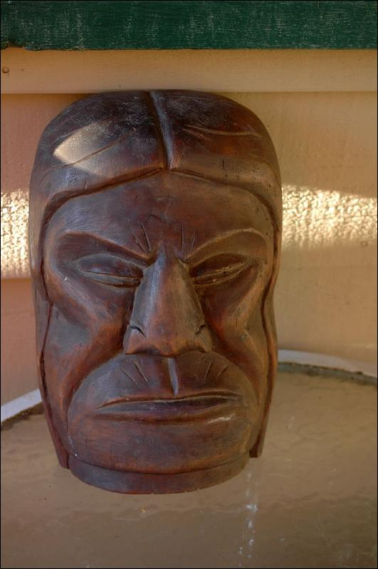 Native American Indian  Cedar  Wood Carving   Man's Face  Bust, Totem