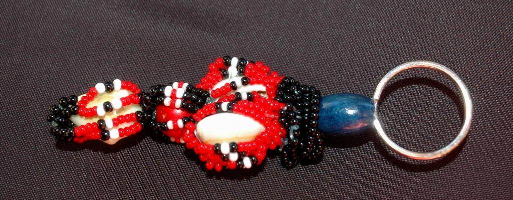 Beaded Keychain,  Fob   Tribal, Nataive, Hand Crafted One of a Kind Key Ring   glass, shell,