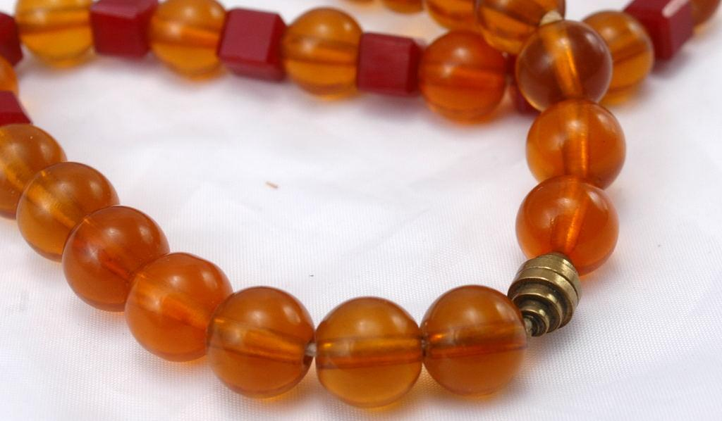 Red Bakelite and Amber Lucite Beaded Choker Necklace
