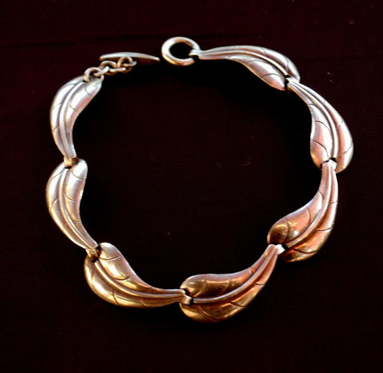 Sterlling Silver  Leaf Links Bracelet