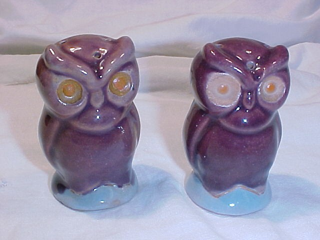 Pottery Owl Salt & Pepper Shakers