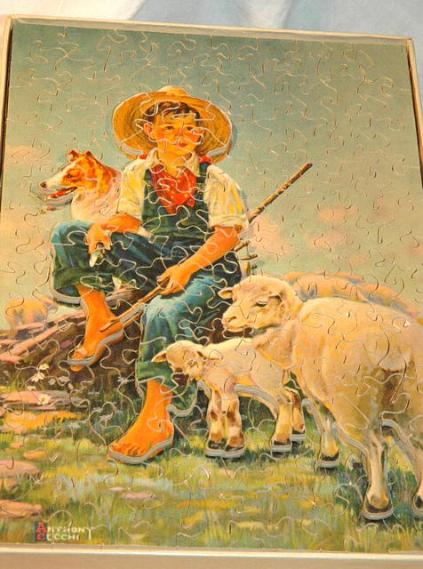 vint Sculputured wood Jigsaw Puzzle Sonny&Sheep
