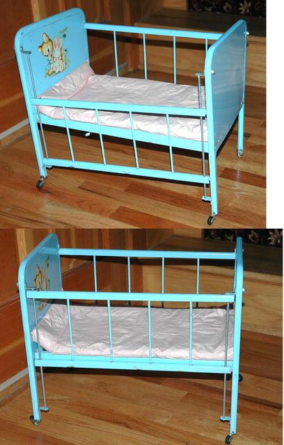 Blue Metal Toy Doll -E- Crib by Amsco