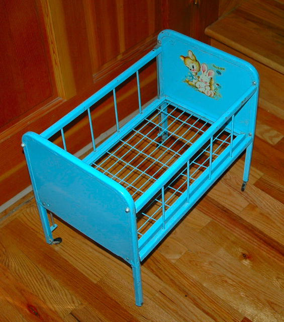 Blue Metal Toy Doll -E- Crib by Amsco