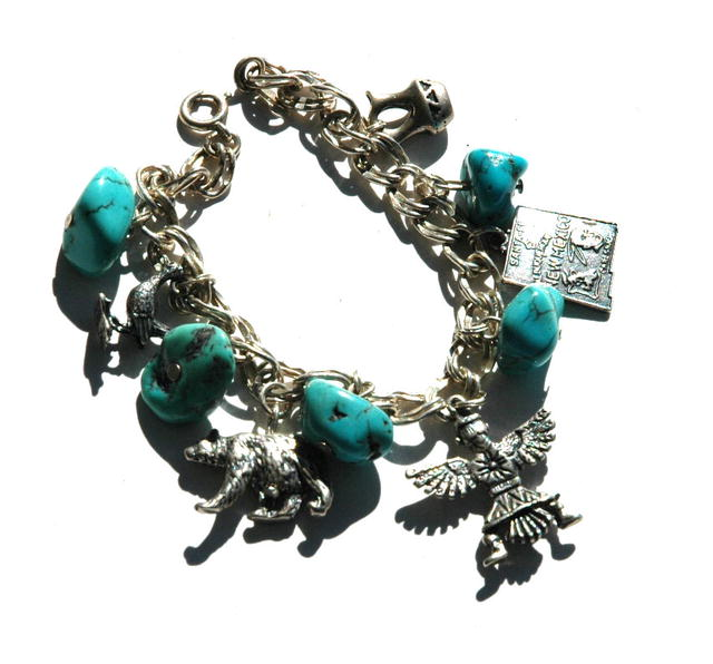 S.W. Indian Turquoise Sterling  Charm  Bracelet