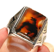 Montana Moss Agate & Sterling Silver  Ring