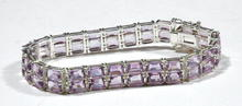Sterling bracelet with 50 Faceted Amethyst Gems