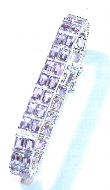 Sterling bracelet with 50 Faceted Amethyst Gems