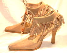 MOCCASINS ! AnkleTie Fringe Suede Heals/ pumps sz 10  BeeFly   *PRICE REDUCTION!*