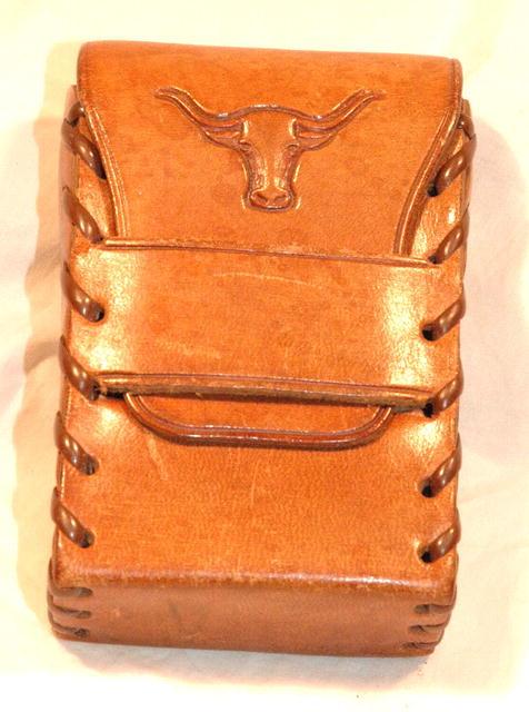Texas Longhorn Bull Tooled Leather Cigarette Case