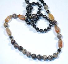 Necklace Mult semi precious gemstones of hematite, carnelian and leopard skin agate