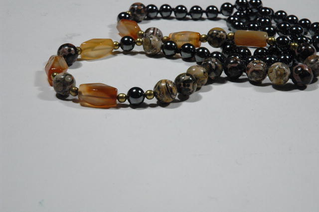 Necklace Mult semi precious gemstones of hematite, carnelian and leopard skin agate