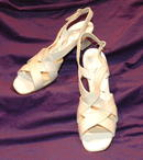 Cream Crinkle Leather Florsheim Strappy Pumps *PRICE REDUCTION!*
