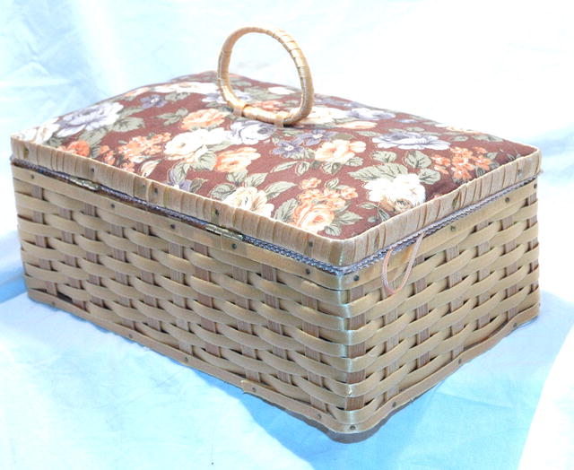 Vintage Bambo & Fabric Sewing  Basket   *PRICE REDUCTION*
