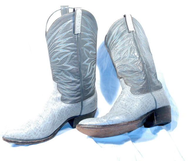 Gray & Blue Stitched Dan Post Elephant Cowboy boots 10D   ** PRICE REDUCTION!**