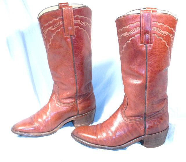 Frye Boots sz 8 Dark Caramel Western Fancy Stitch
