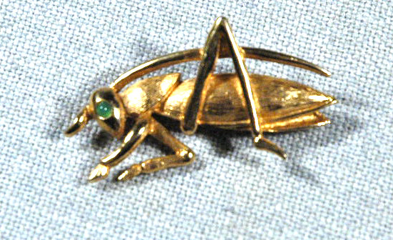 Boucher Emerald Eye Gold Grasshopper Pin