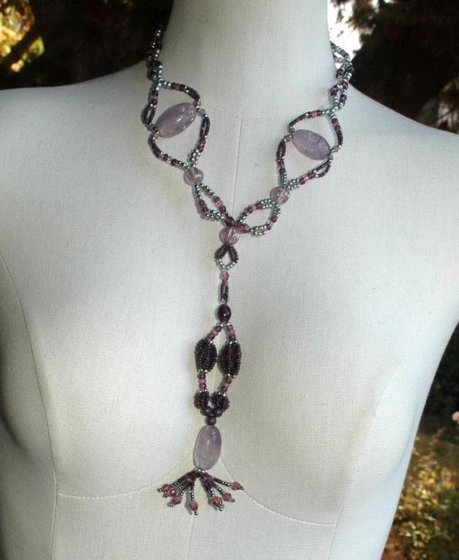 Huge Amethyst Beaded  Necklace with Long Pendant Tassel  Hand Crafted Elaborate   Unique Design and colors lavender, plum and silver  Neck Tie Design