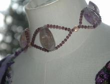 Huge Natural Amethyst Stones  Beaded  Choker Necklace Handcrafted Elaborate  Unique Design