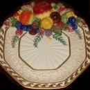 FITZ & FLOYD FRUIT  MAJOLICA HARVEST PLATE WITH GOLD TRIM