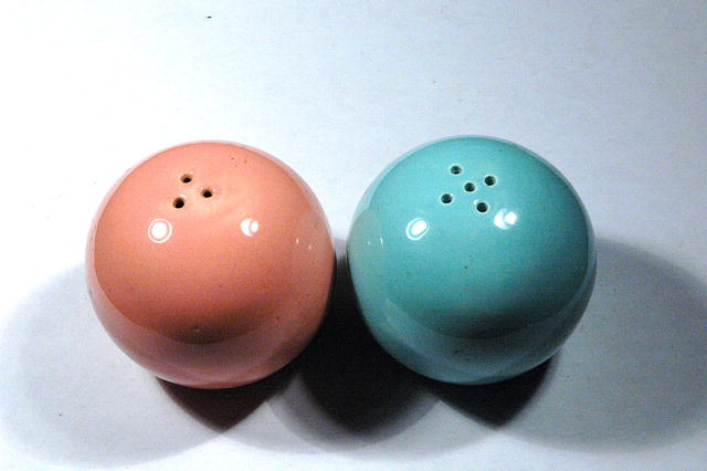 Spherical  Blue & Pink Pottery Salt & Pepper shakers