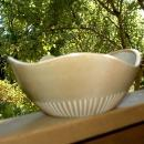Modernist  Asymmetrical  Wavy Rim Stoneware Pottery Bowl, Signed