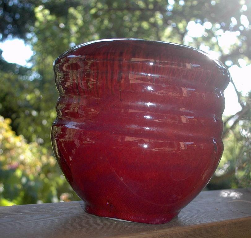 Cranberry Glazed Pottery Vase signed Rigel