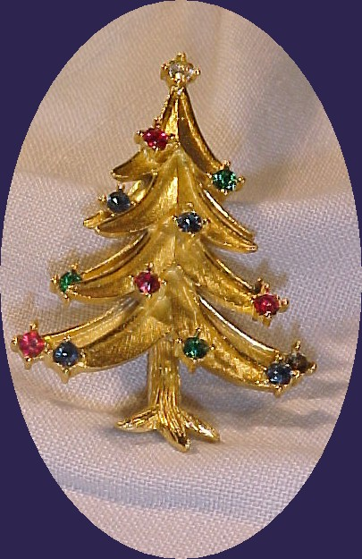 Trifari Christmans Tree Pin with multi colored stones