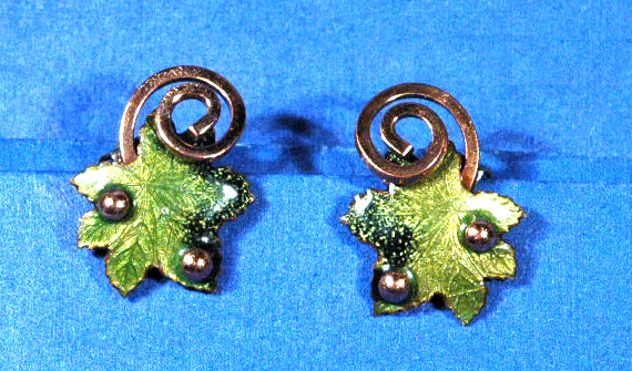 Matisse Copper  Enamel  Earrings Maple Leaf