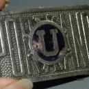 Antique Portland University Belt Buckle, Nickle and Enamel made by Jenkins