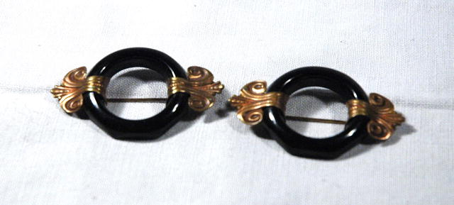 2 Art Deco Black Bakelite & Brass Scatter Pins