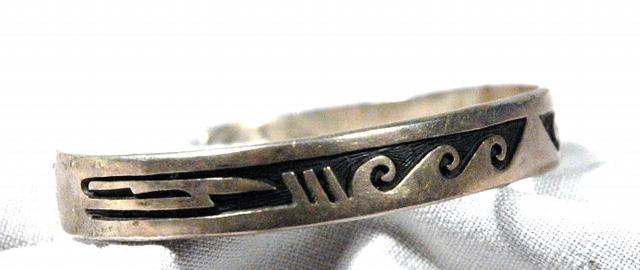 Signed Sterling Silver  Hopi  Style Bracelet