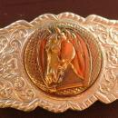 Western Silver Horse  Trophy / Horse Shoe Belt Buckle   Beautiful Casting