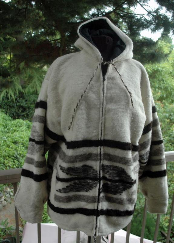 Momostenango Guatemala Wool  Hooded Parka, Coat Jacket L