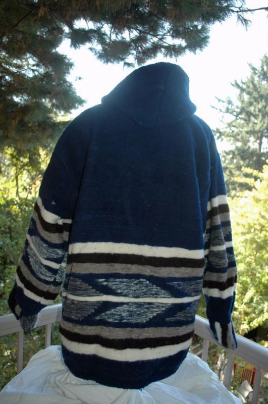 Momostenango Guatemala Wool  Hooded Parka, Coat Jacket  XL