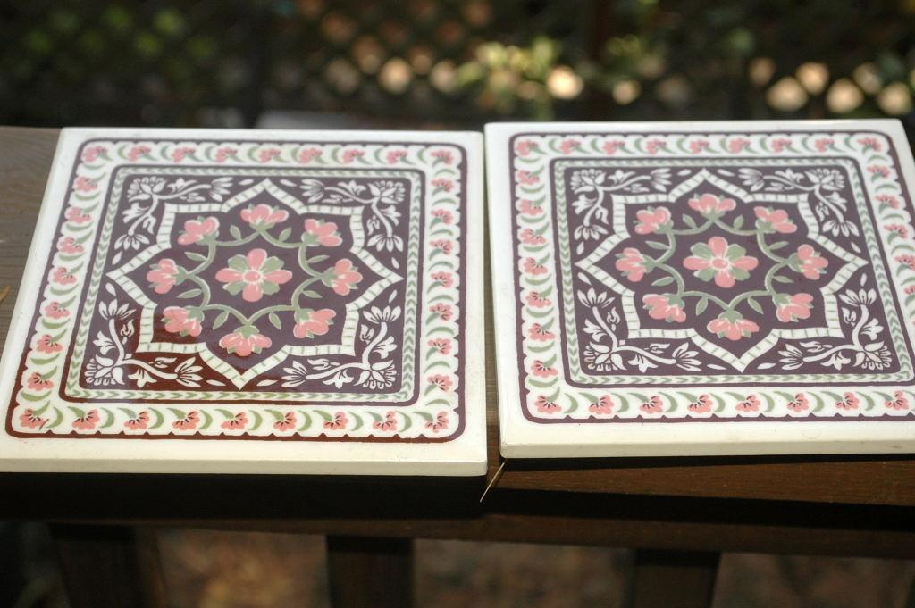 2 matching tiles, vintage for wall decor or trivets