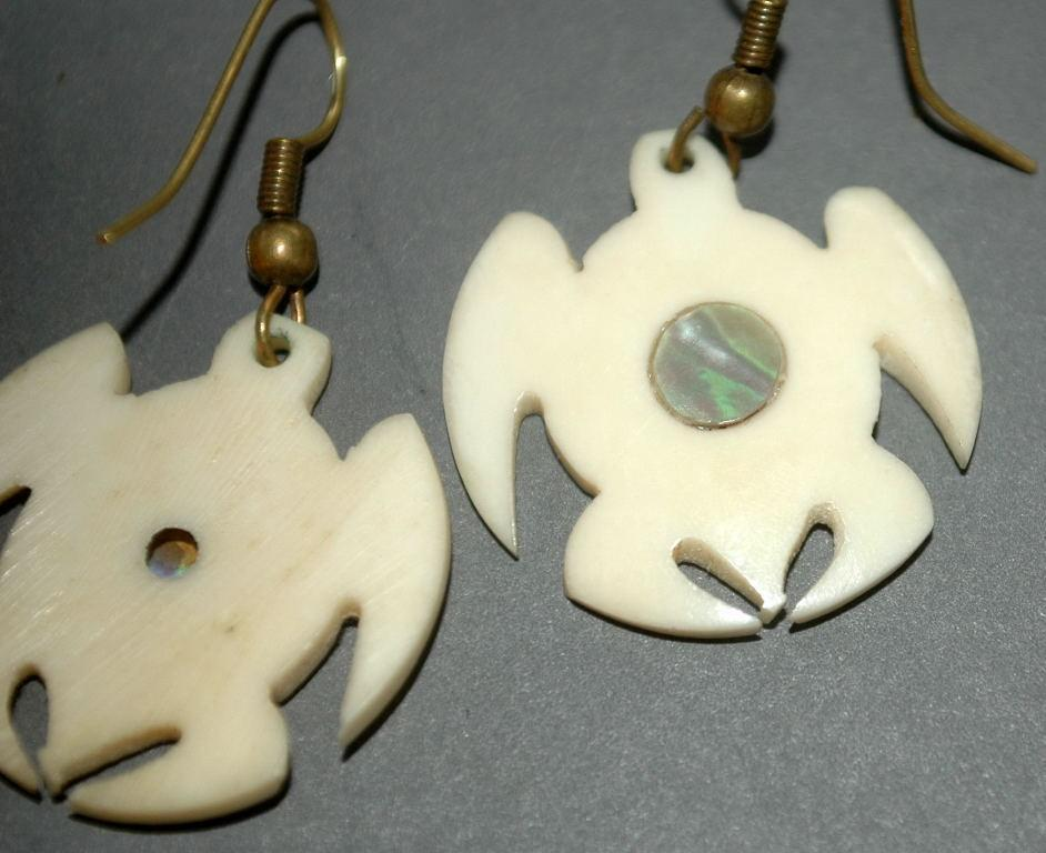 Hand crafted Turtle Earrings  Carved Bone with Abalone Shell