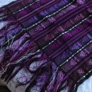 Guatemalan Mayan Table Runner Hand Woven Purple, Metallic  & Black