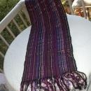 Guatemalan Mayan Table Runner Hand Woven Purple, Metallic  & Black