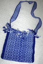 Blue White Guatemalan Cotton Shoulder Bag  from the Sierra de las Minas Biosphere Reserve, Hand Woven