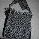 Black  White Guatemalan Cotton Shoulder Bag  from the Sierra de las Minas Biosphere Reserve, Hand Woven