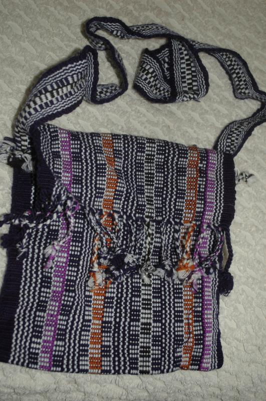 Black, Brown and Purple  Guatemalan Cotton Shoulder Bag  from the Sierra de las Minas Biosphere Reserve, Hand Woven