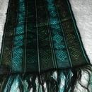 Guatemalan Mayan Table Runner Hand Woven Green/ Blue with Metallic Threads   long fringe